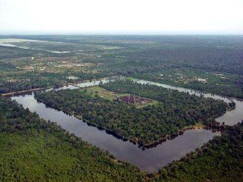 Aerial view of Angkor Wat.