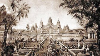 Sketch of Angkor Wat, a drawing by Louis Delaporte, c. 1880.
