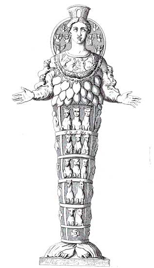 An 18th-century engraving of a Roman marble copy of a Greek replica of a lost Geometric period xoanon