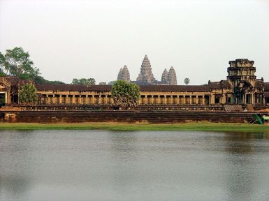 View of the west wall of the outer enclosure of Angkor Wa