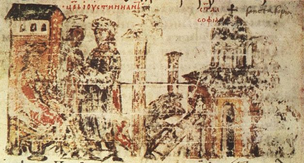 Construction of church depicted in codex Manasses Chronicle (14th century)