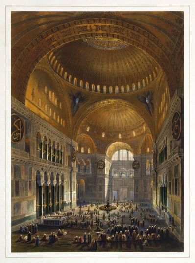 Hagia Sophia during its time as a mosque. Illustration by Gaspare Fossati and Louis Haghe from 1852.